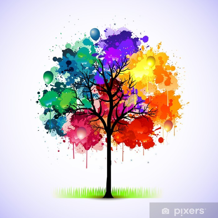 Colorful abstract tree background Sticker • Pixers® - We live to change
