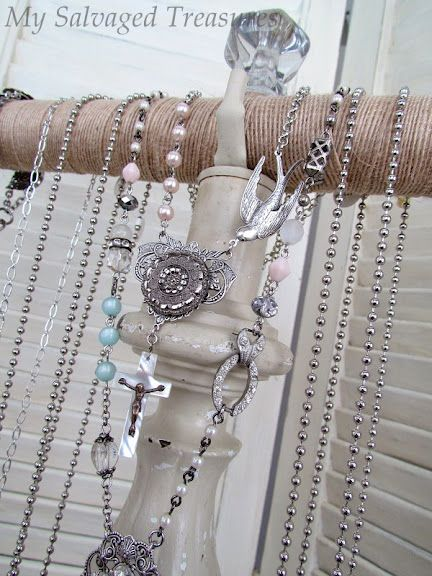 go see how Betsy, of my salvaged treasures made this jewelry holder from an old lamp base!