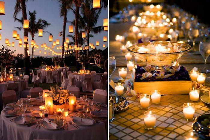 Tischdeko Hochzeit Blumendeko Kerzen Windlichter Hochzeitsdeko