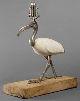 wood, silver, glass and stucco figure of the god Thoth in the form of an ibis, wearing an atef crown (Kunsthistorisches Museum Vienna)