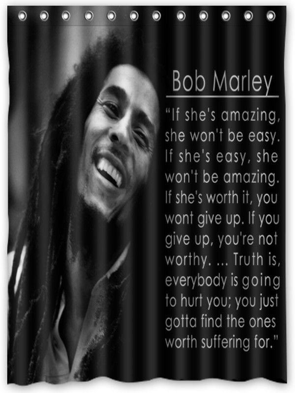 Nl313 Retro Legend Bob Marley Quotes Shower Curtain Bath 60 X 72