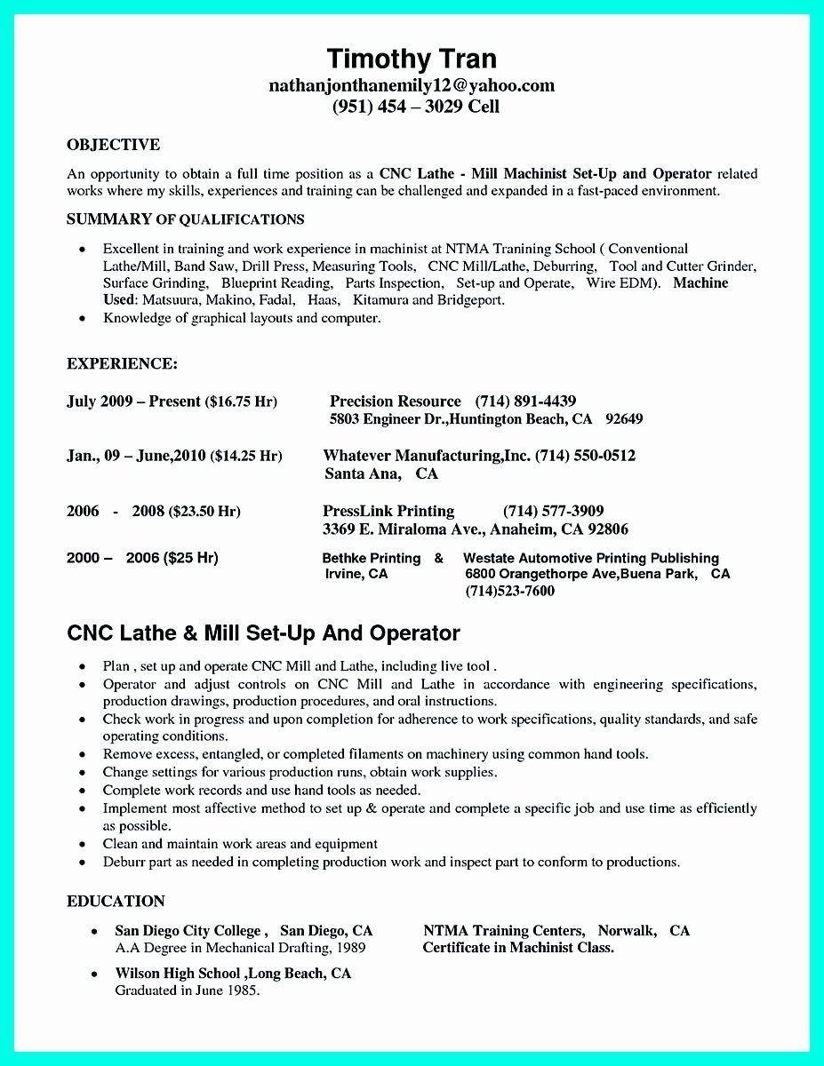 20 Cnc Machine Operator Resume (2020) Job resume samples