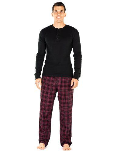 b6429f92283d Mens Premium 100 Cotton Flannel Lounge Set BlackBurgundy Plaid Medium      You can get additional details at the image link.