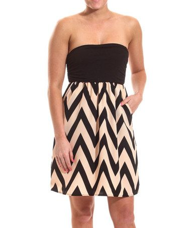 Look what I found on #zulily! Black & Beige Zigzag Ruched Strapless Dress by Coveted Clothing #zulilyfinds