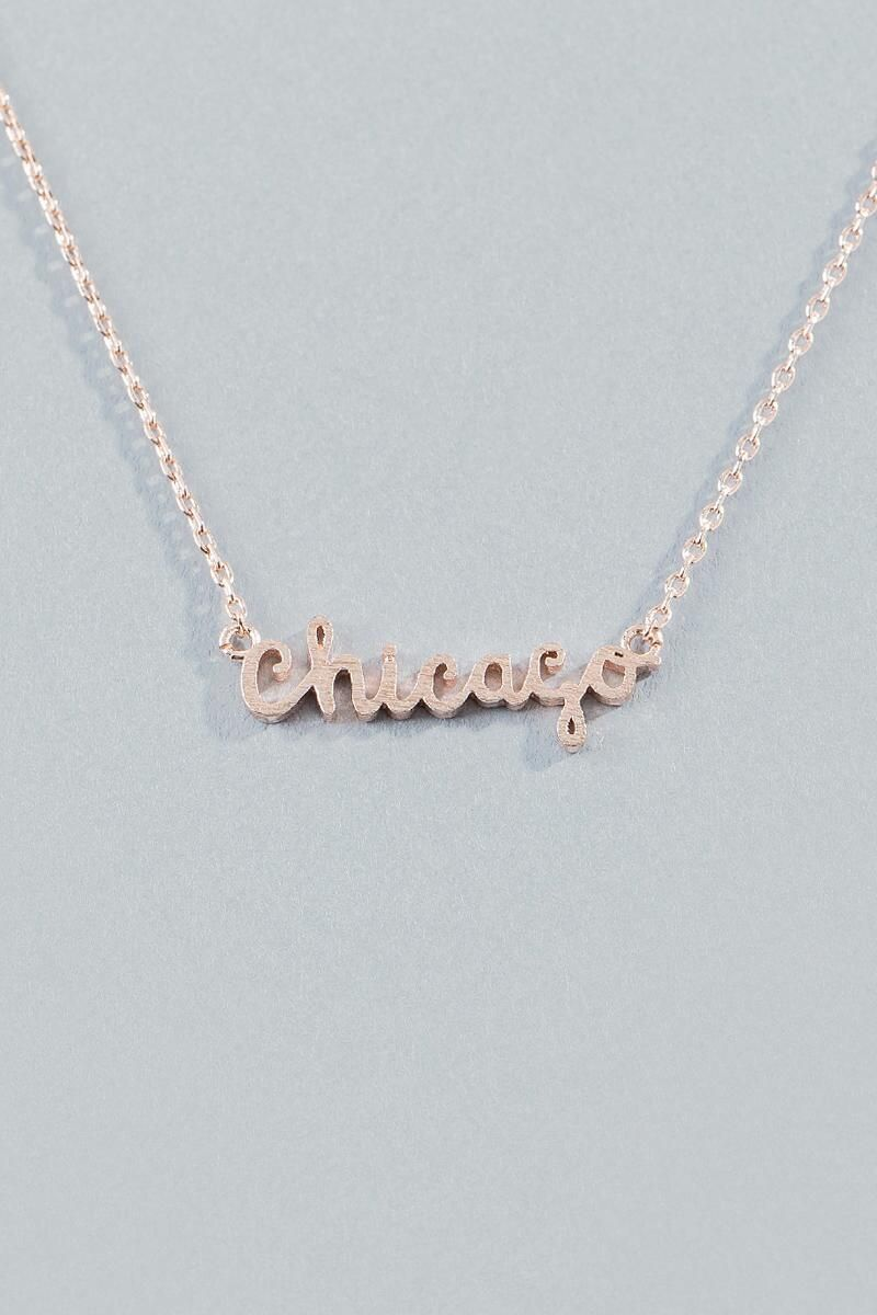 Chicago Script Pendant in Rose Gold Chicago Pendants and Rose