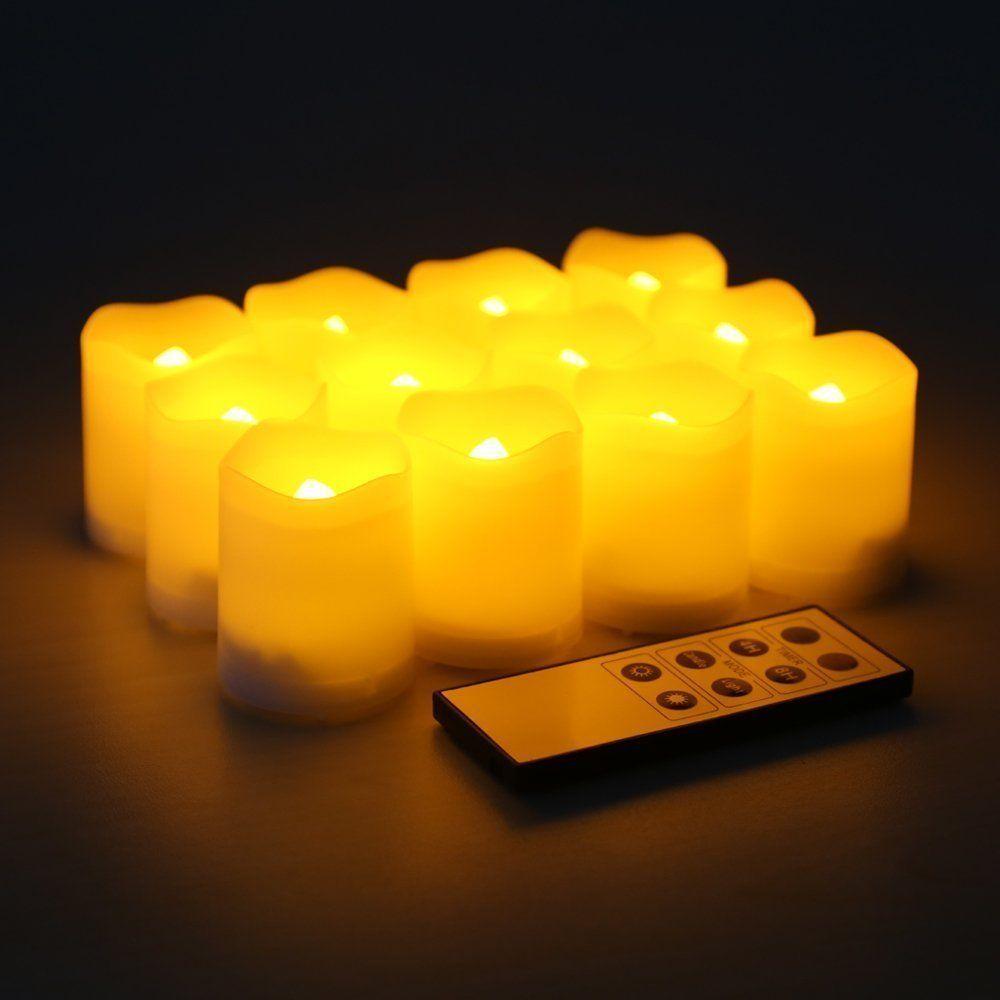 Flameless Votive Candles Amazon Kohree Set Of 12 Flameless Votive Pillar Led Candles