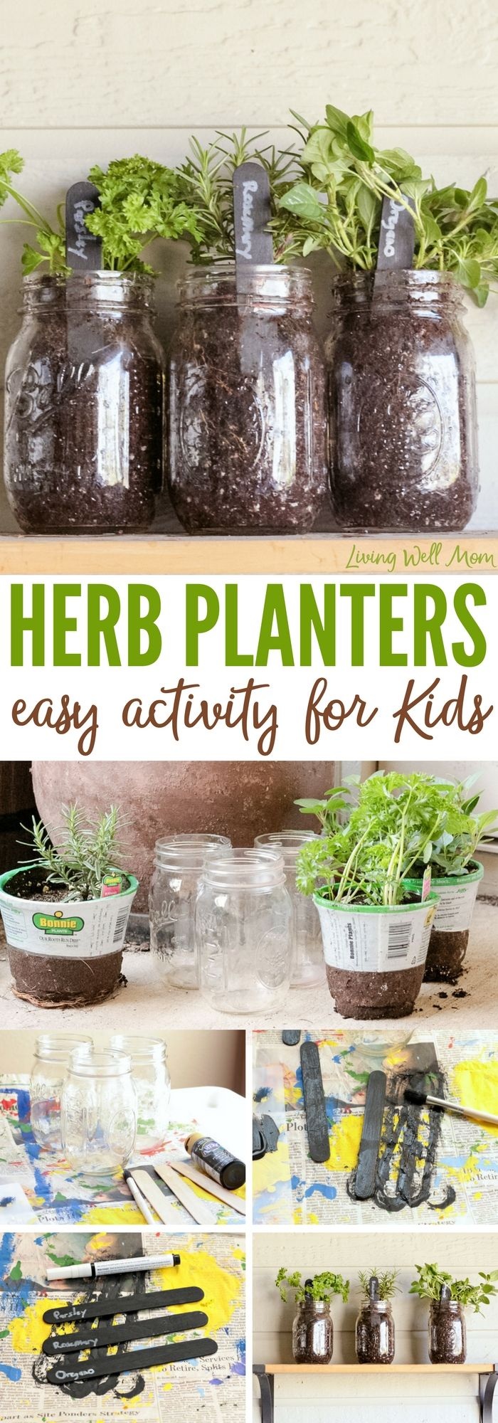 How To Make Easy Herb Planters For Kids   Welcome Spring And Teach Kids How  To Do Simple Gardening With These Easy Mason Jar Herb Planters!