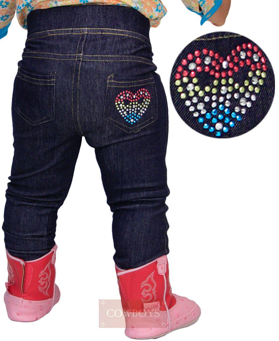d59cc40d0 Calça Infantil legging estilo jeans, com bolso bordado desenho de um coração  colorido. Muito fácil de vestir, confortável sua Cowgirl vai estar na moda  ...