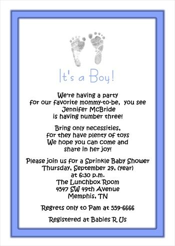 3rd Baby Boy Shower Invitations Wording Footprints For Sprinkle Arebecoming Very