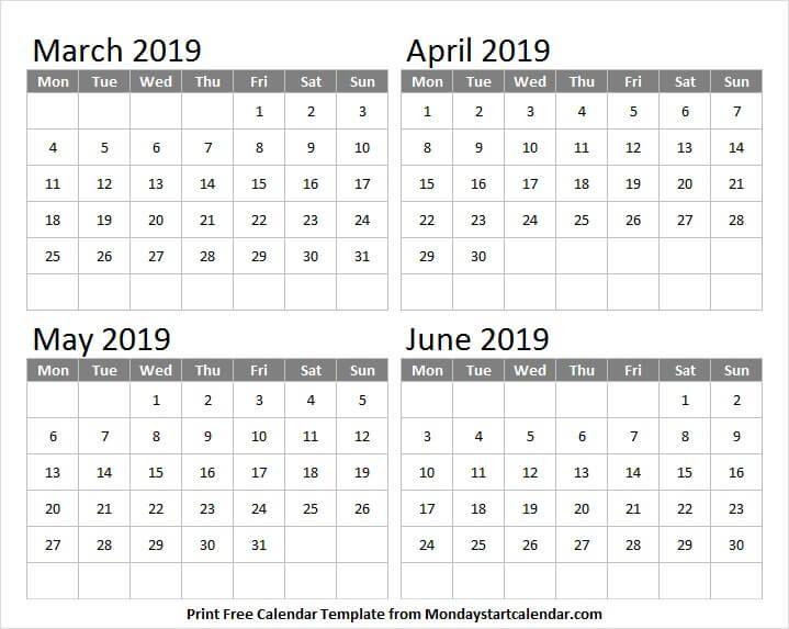 March April May And June 2019 Calendar March 2019 Calendar
