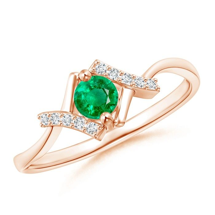 Angara Solitaire Emerald Bypass Promise Ring in 14K Yellow Gold gqhXwy