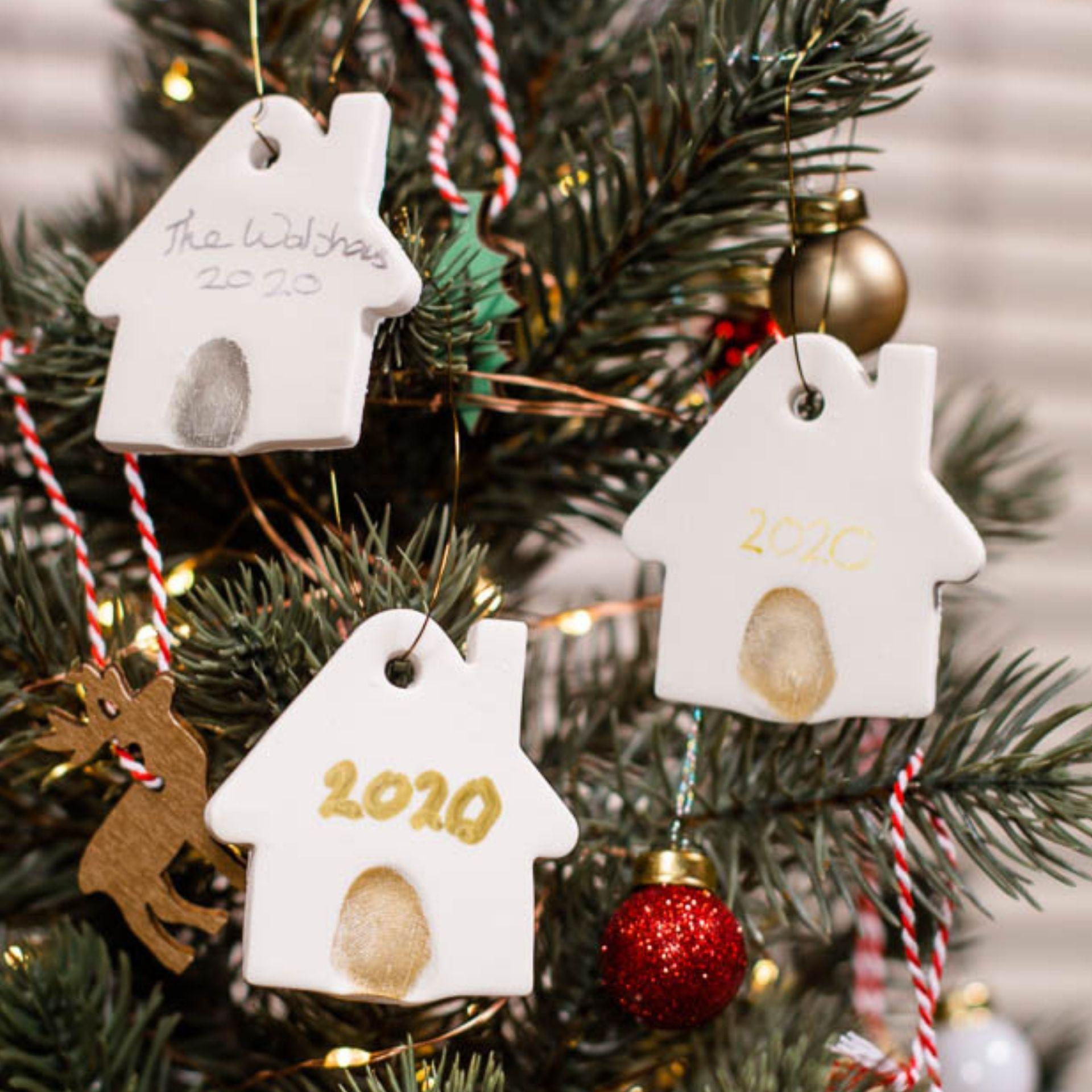 Fingerprint Christmas Tree Ornament Air Drying Clay In 2020 Christmas Crafts For Gifts Christmas Crafts For Kids Christmas Tree Decorations