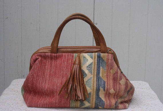 Vintage Pastel Kilim Leather Hinge Handbag Purse