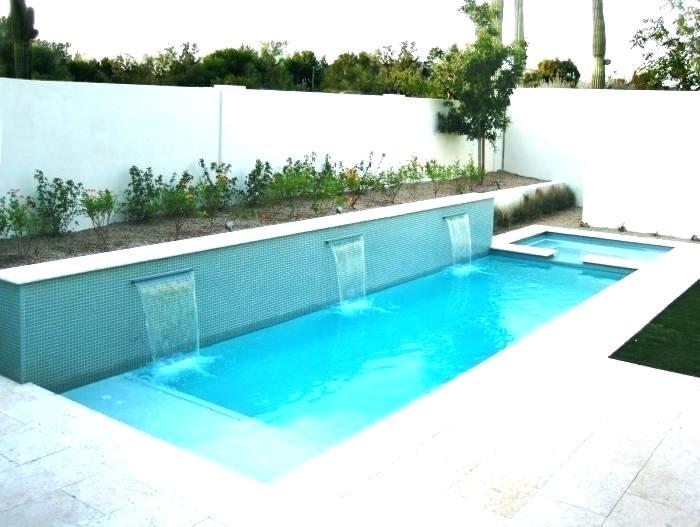 Small Swimming Pool Design Swimming Pool For Small Yard Refreshing Swimming Pool With Water Wall And Baby Poo In 2020 Small Backyard Pools Pool Waterfall Backyard Pool