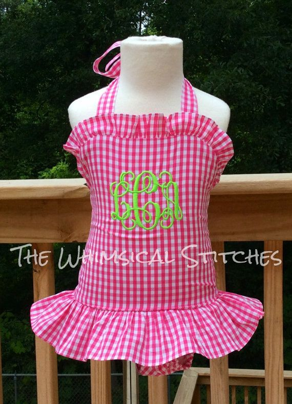 Girls Monogrammed swimsuit  Girls Bathing by TheWhimsicalStitches