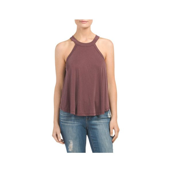 bf7897bb19f8d Juniors High Neck Ribbed Tank ( 13) ❤ liked on Polyvore featuring tops