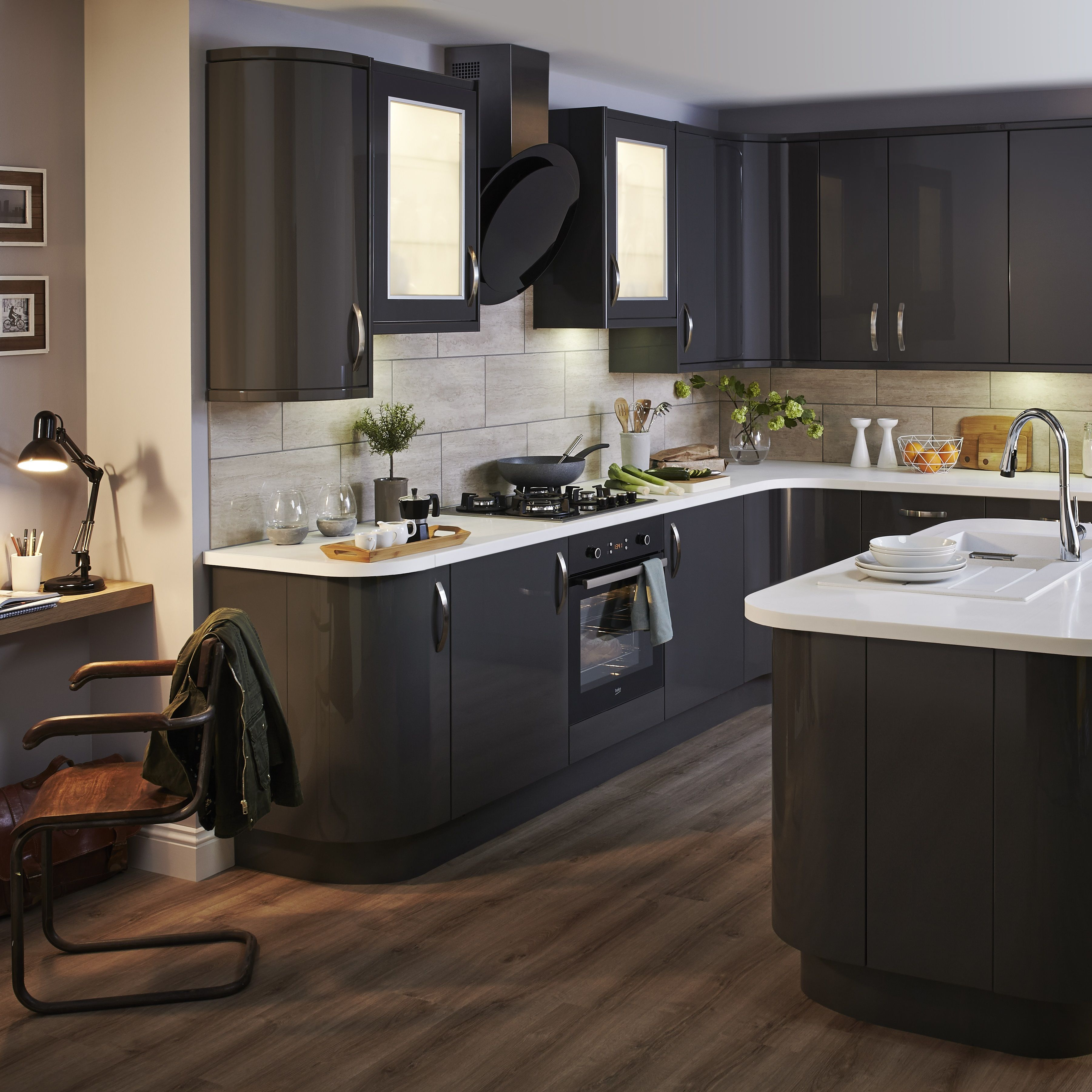 Best Our Santini Gloss Anthracite Slab Kitchen Is Bold And 400 x 300