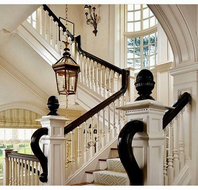 Formal Staircase: White Stairs With Runner, Dark Wood