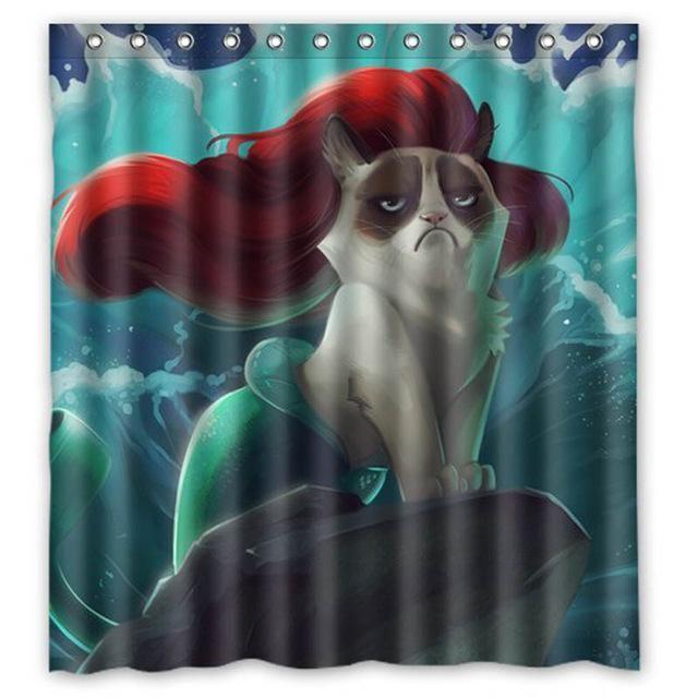Grumpy Cat Mermaid Shower Curtain Bathroom Decor Cat Shower