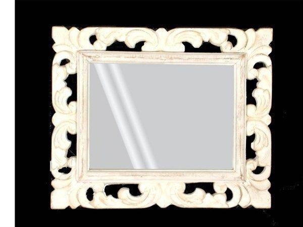 Specchio da parete intarsiato bianco decape design provenzale specchier baroque mirror - Ebay specchi antichi ...