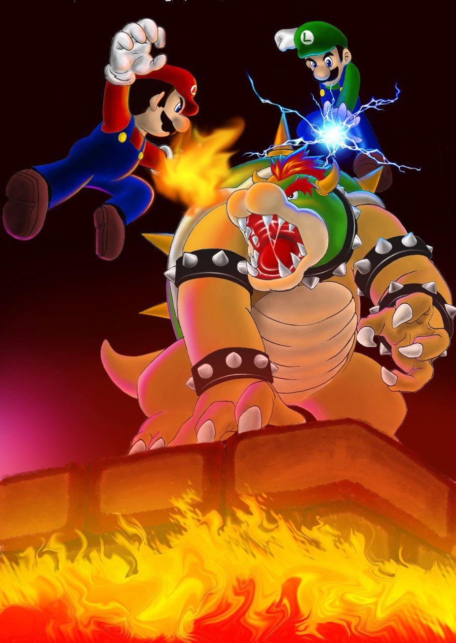 Nice Art work | Mario and Luigi VS Lord Bowser by karuma9.deviantart ...