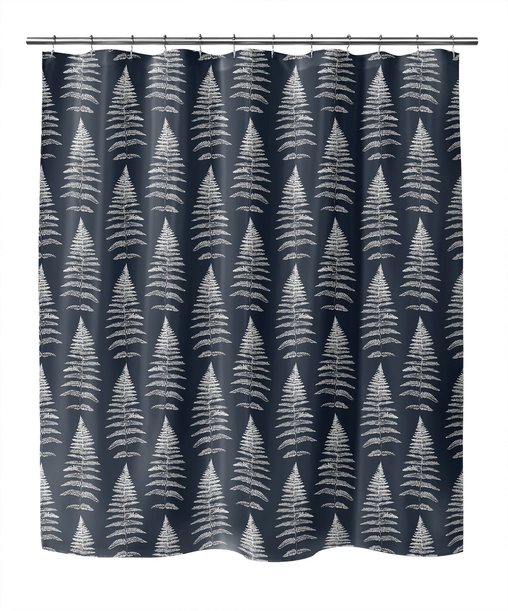 Photo of FERN LEAF NAVY Shower Curtain By Becky Bailey – 70in x 90in