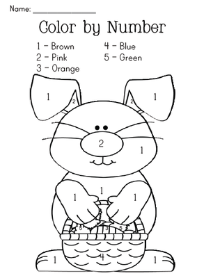 Easter Bunny Color By Number From Miss Jill On Teachersnotebook Com 1 Page Easter Preschool Easter Colors Preschool Activities