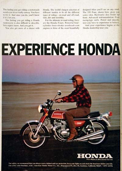 1973 Honda 350 Four Motorcycle Vintage Ad With Hydraulic Disc Brakes Up Front Advanced Instrumentation Racing Type Carbs And Power Smoothness