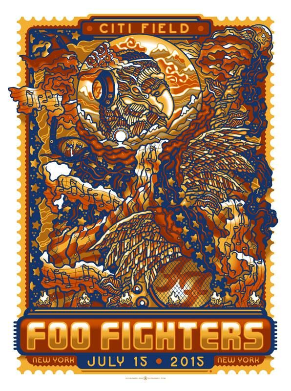 Foo Fighters July 15 Citi Field New York Ny Poster By Guy Burwell Illustration Foo Fighters Poster Foo Fighters Foo Fighters Concert Poster