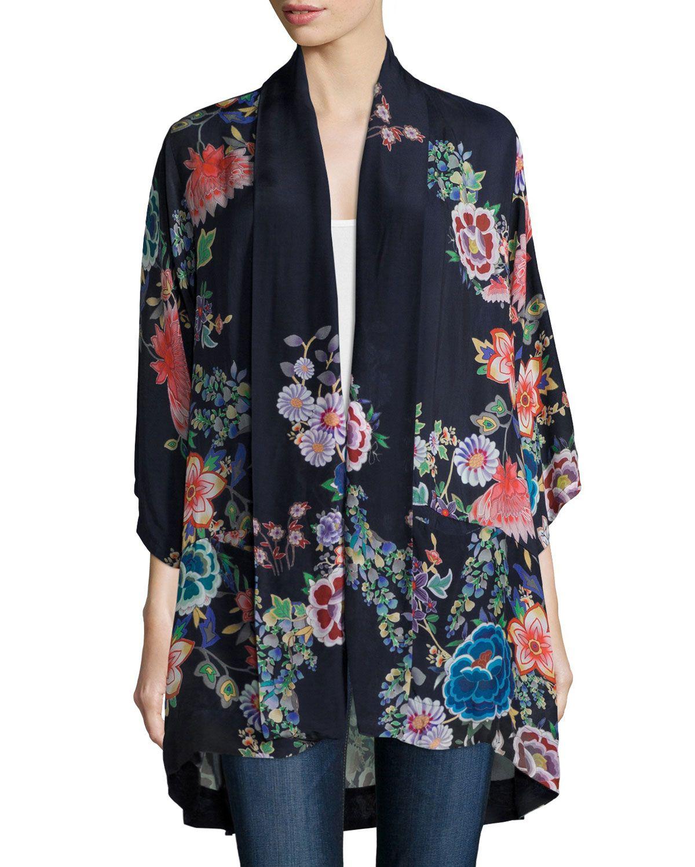 Johnny Was Gail Floral-Print Kimono Jacket