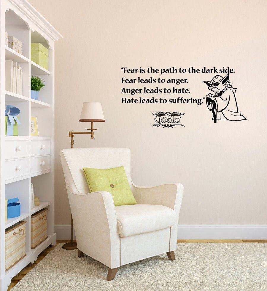 wall decals quote fear path dark side star wars vinyl sticker