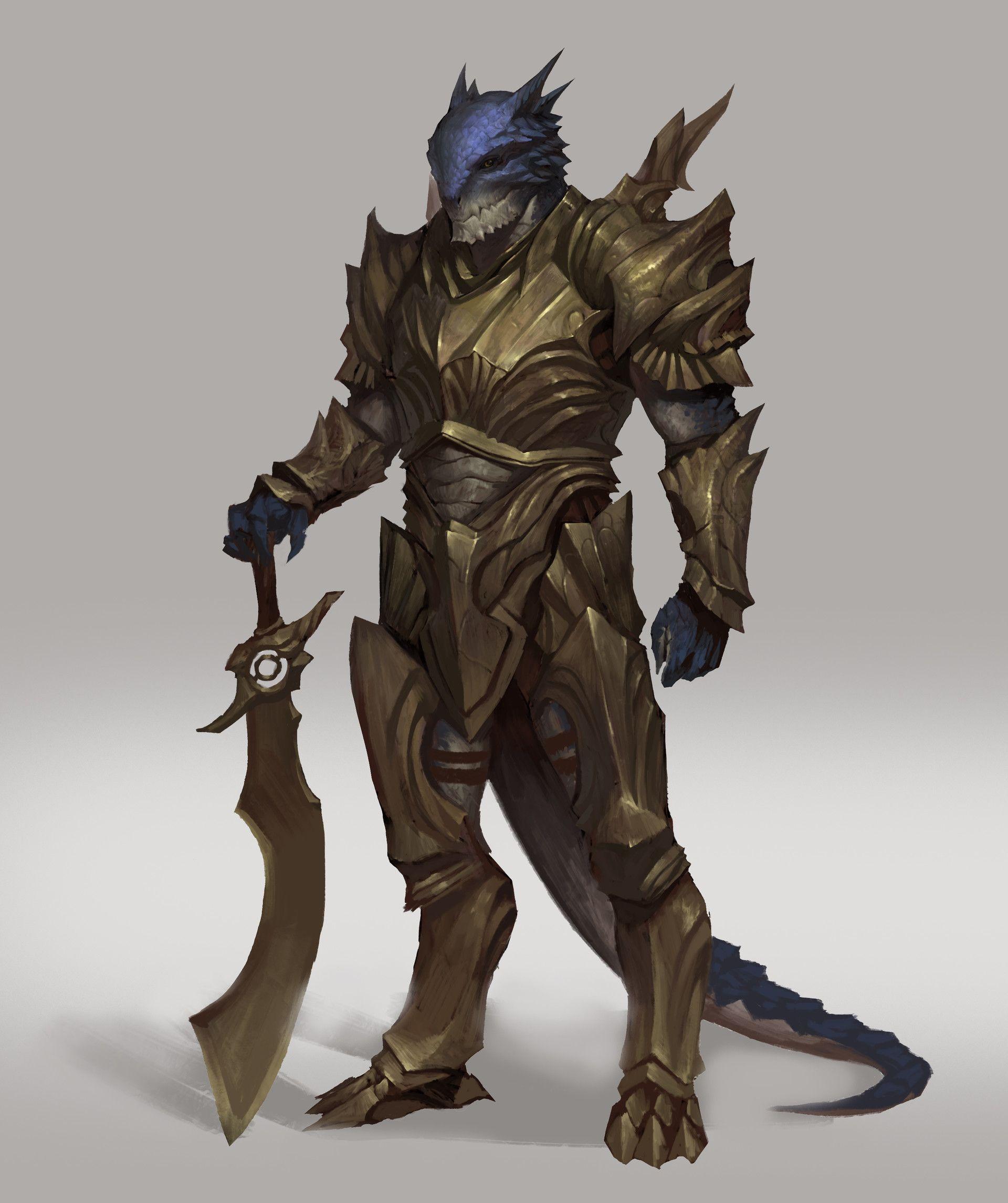 ArtStation - Argonian warrior haha, Jiamin Lin in 2020 | Dragon fighter, Character art, Fantasy ...