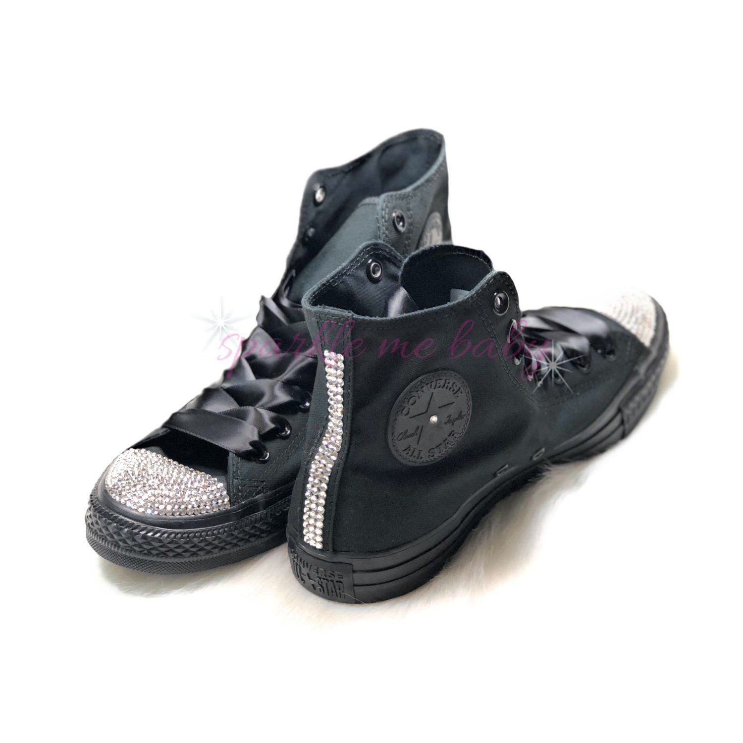 Swarovski Women s Converse High Tops ~ Black Monochrome ~ Crystal Choices  include Swarovski ~ Bling Converse Customized By SparkleMeBaby2u by ... 42156312ec46