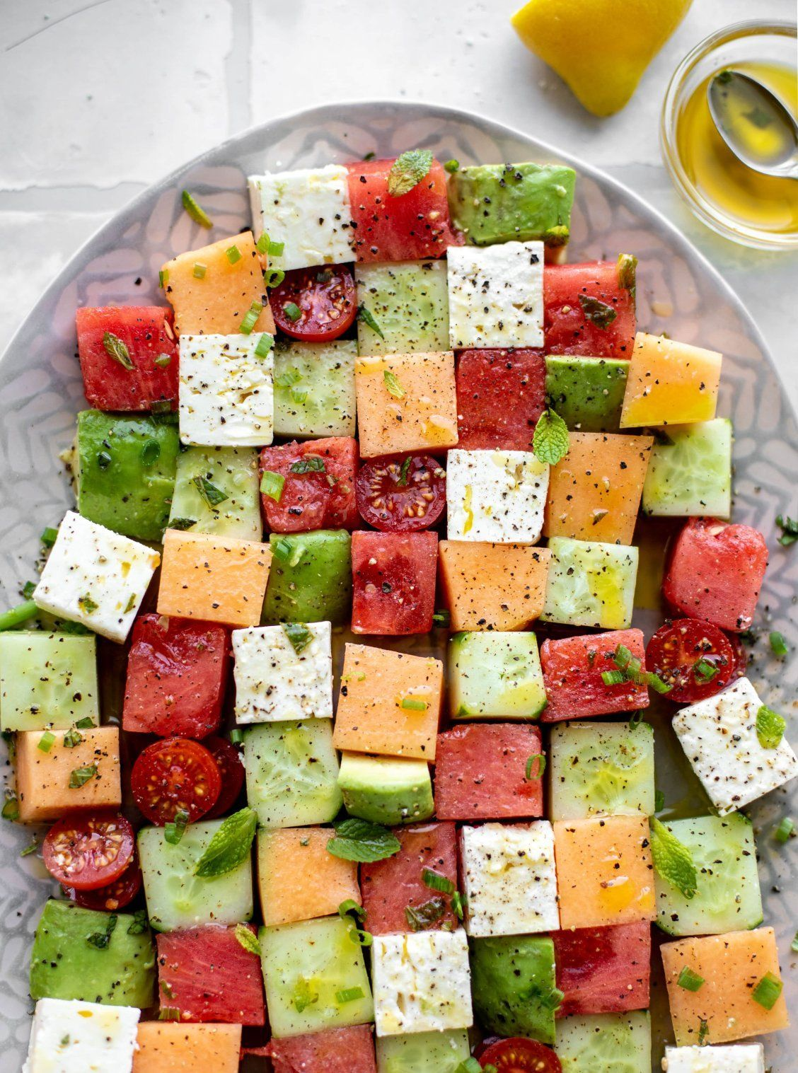 Photo of Melon Mosaic Salad with Hot Honey Vinaigrette – Melon Mosaic