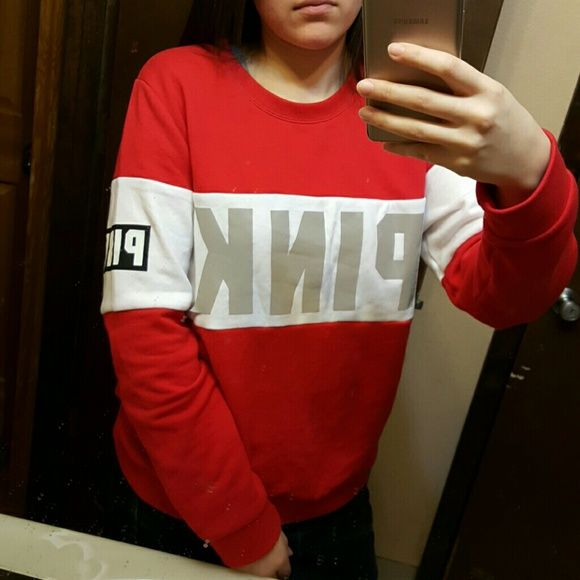 VS PINK Red Reflective Crew Sweater