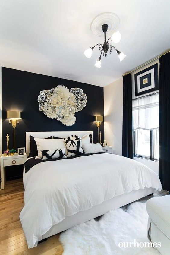White Bedding In A Bag In 2020 With Images Blue Master Bedroom Black Walls Bedroom Black Master Bedroom