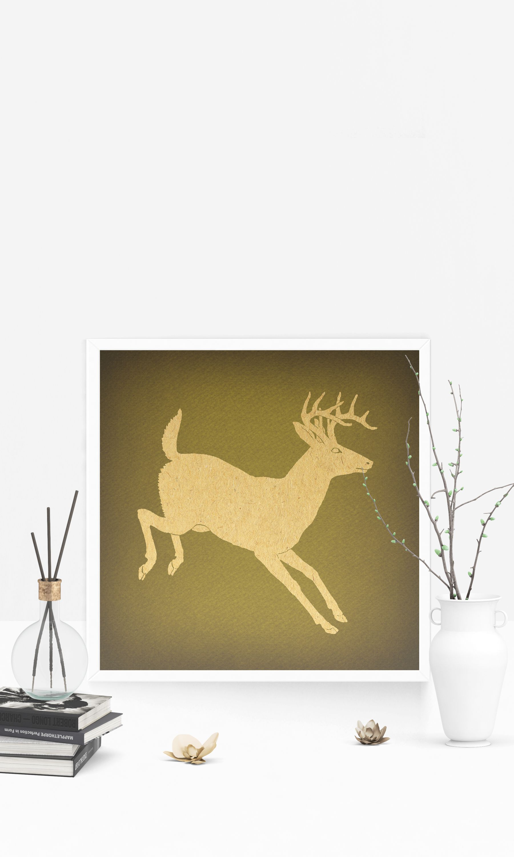Vintage Deer Wall Art Print for Animal Themed Home Decoration ...