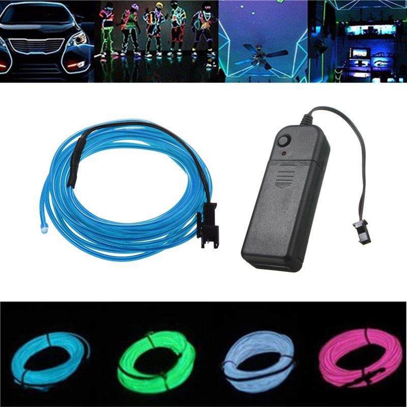 Battery Powered 3M 8 Colors Flexible Bendable Neon EL Wire Light for ...