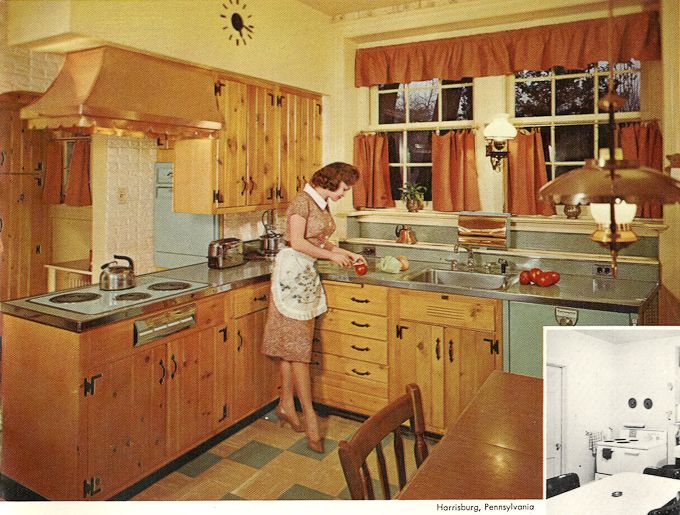 1960 39 S Kitchens Bathrooms More Striped Curtains Knotty Pine Kit
