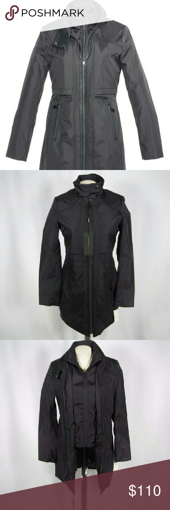 Marc New York  Womens Carey Rain W/bib Raincoat Just because it's raining doesn't mean you can't look your best! Classic rain trench with a removable rain bib. Polyester fabrication offers light protection from the elements. Faux-leather trim adds a bit of style to a rainy day. Inner hand pocket to keep all your valuables dry. Full front-zip closure on jacket and bib; dual-snap tab at collar on jacket. Color: Ink  Hand pockets with zipper closure. Marc New York by Andrew Marc? Jackets…