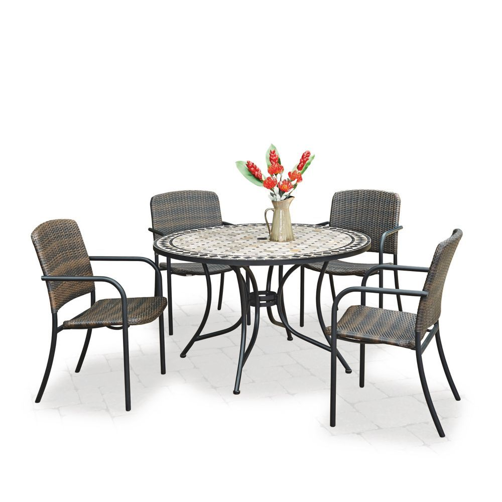 Marble Top 5 Piece Round Outdoor Dining Table 4 Chairs Round