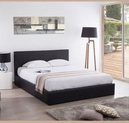 Cama con canapé de diseño Magali en color negro. • Estructura de ...