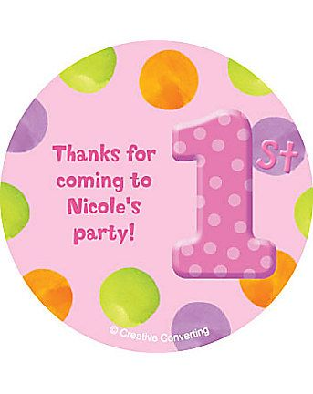 Girls polka dot 1st birthday personalized stickers sheet of 12