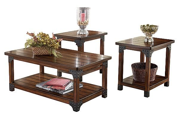 Ashley Casa Mollino Marble Top Table Set Square Cocktail Table