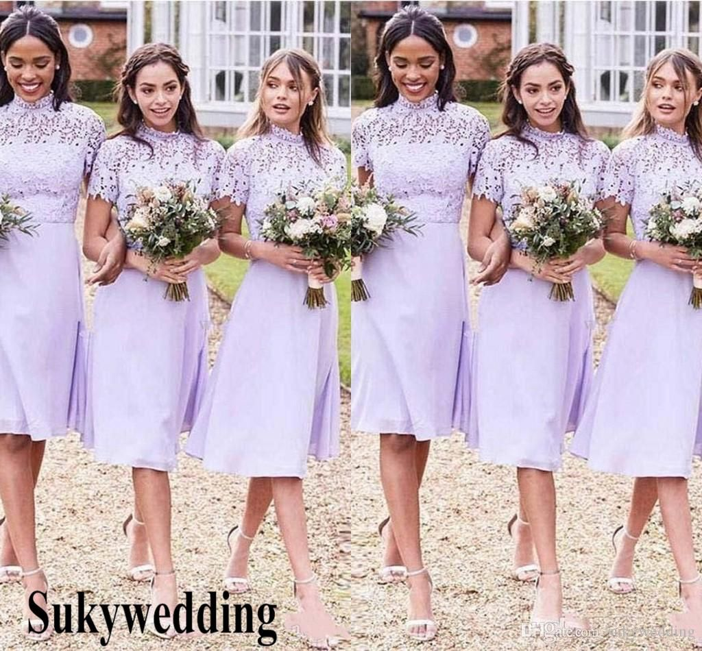 New Lavender Short Bridesmaid Dresses With High Neck Lace Chiffon Maid Of Honor Gowns Knee Length A Line Country Wedding Party Gowns Bridesmaid Dresses Patterns Knee Length Bridesmaid Dresses Lavender Bridesmaid