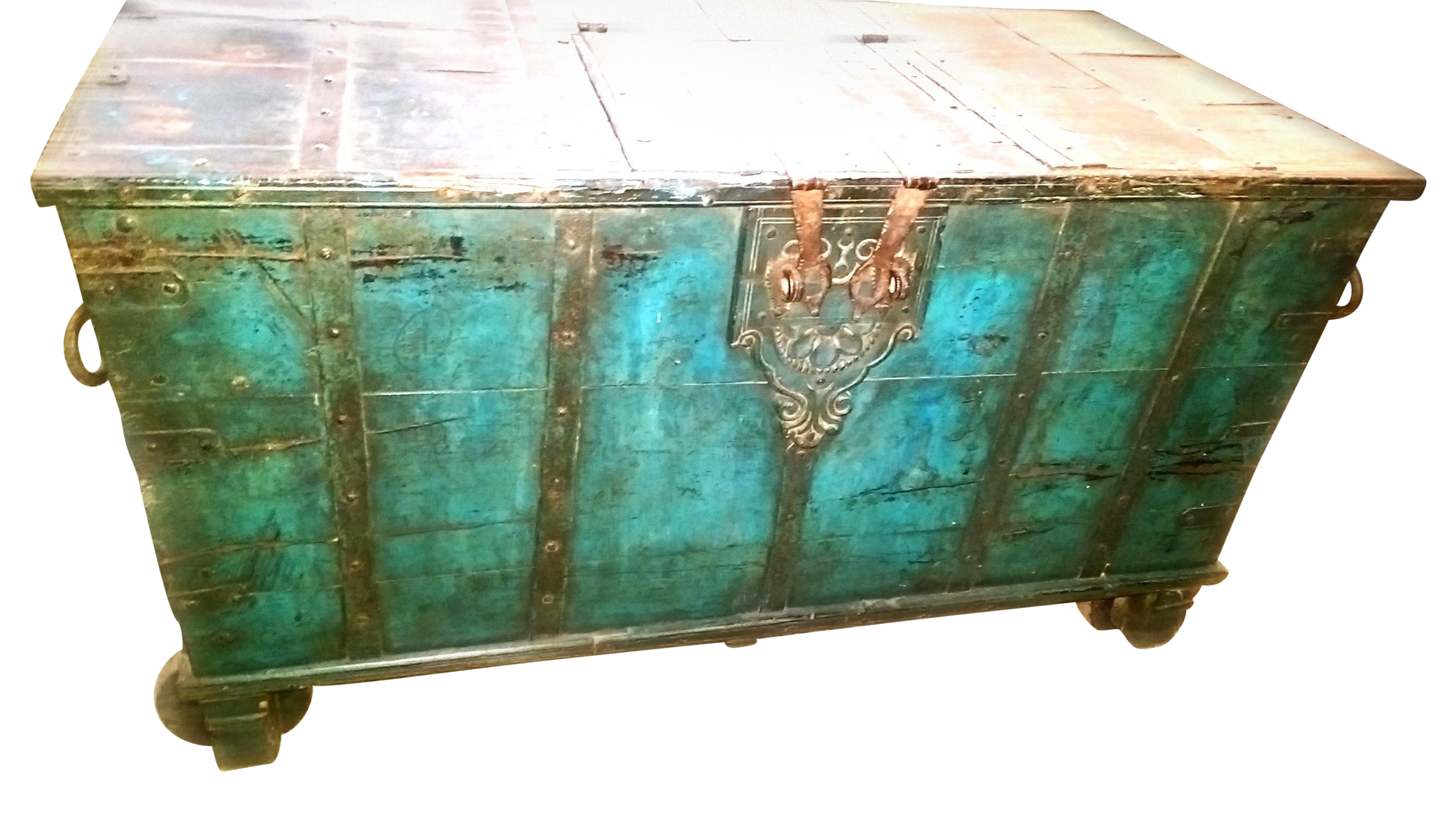 Vintage Turquoise Indian Trunk on Chairish.com