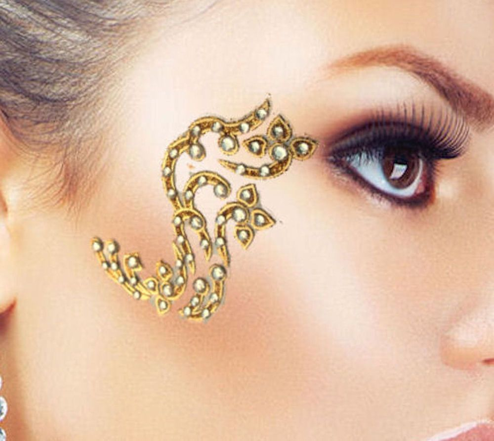 Eye corner face body decoration clear gems gold