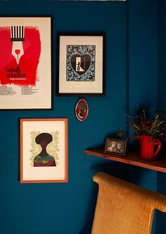 home office dark blue gallery wall. Homes - Bold : Hallway With Blue Walls Home Office Dark Gallery Wall I