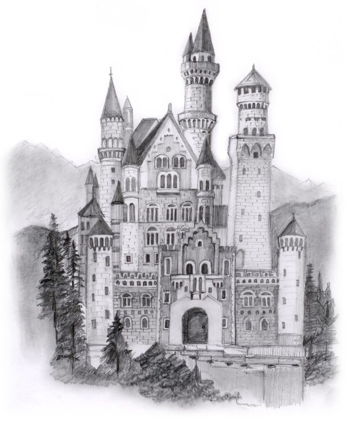 Chapter 12 Europe Castle Coloring Page Architecture Sketchbook