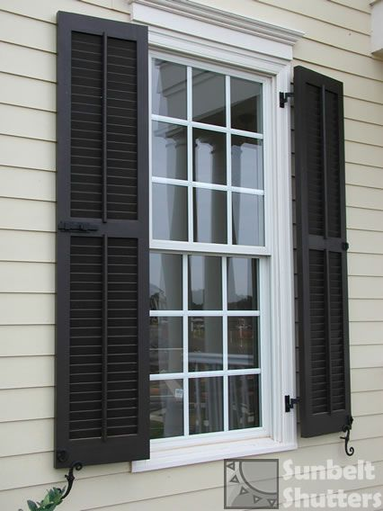 Pin By House Of Designs Interior Ar On Sunbelt Shutters Louvereds Louvered Shutters Brick Exterior House Windows Exterior